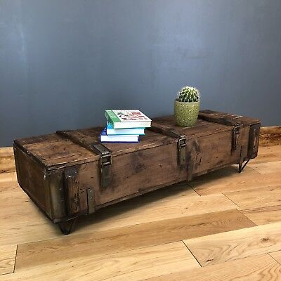 Vintage wooden Trunk Chest box Rustic Industrial Coffee table Upcycled Hairpin