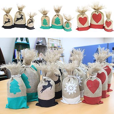 Set Of 3 Danish Christmas Pouches -Xmas Presents Gift Stocking Eco Bag Jute Sack