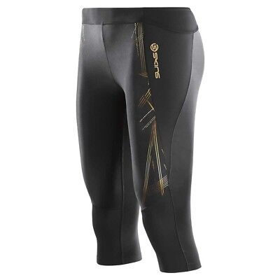 Skins A400 3/4 Compression Running/Sport Tights - Womens - Black/Gold