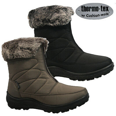 New Ladies Cushion Walk Winter Warm Faux Fur Lined Comfort Women Ankle Zip Boots