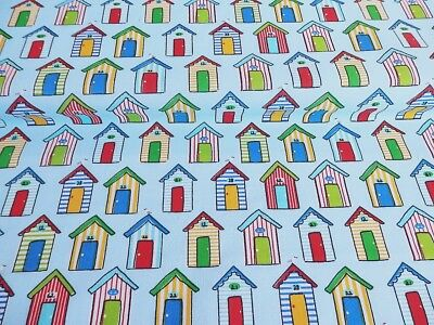 Cheap New Remnants  Polycotton OffCut Fabric SEASIDE BEACH HUT Blue Bunting