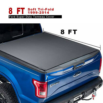 Leather 8' Soft Tri-Fold Tonneau Cover Fit For 99-14 Ford Super Duty Bed Cover