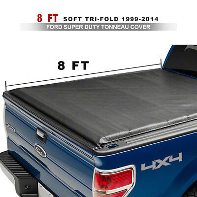 Leather Soft Tri-Fold Tonneau Cover Apply For 99-14 Ford Super Duty 8ft Bed