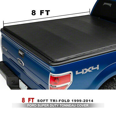 Leather Soft Tri-Fold Tonneau Cover Fit 99-14 Ford Super Duty 8' Bed