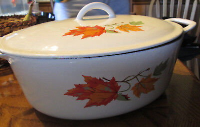 Vintage Descoware Cast Iron White Enamel Autumn Leaves Dutch Oven