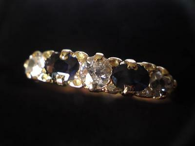 1927 Hallmark 18ct Yellow Gold Victorian style Five Stone Diamond Sapphire ring