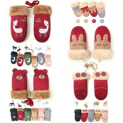 Smart Children Baby Gloves Winter Cartoon Warm Plus Velvet Thickening Mittens