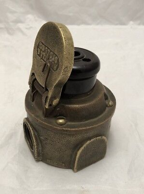 VINTAGE Antique BRASS INDUSTRIAL R&S Electrical Outlet RUSSELL STOLL Co New York