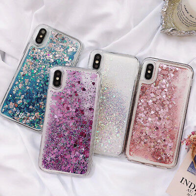 For iPhone X 6S 7 8 Plus Dynamic Liquid Glitter Quicksand Bling Soft Case Cover