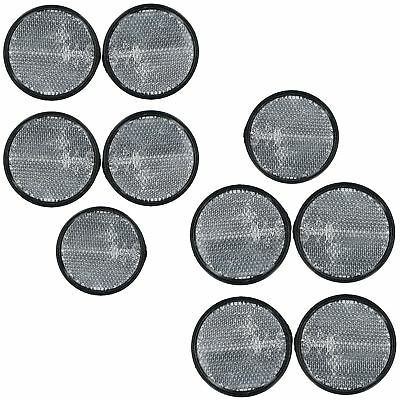 White Clear Retro Reflector Trailer Fence Post with Self-Adhesive Back 10 PACK