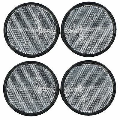 White Clear Retro Reflector Trailer Fence Post with Self-Adhesive Backing 4pk