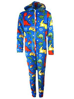 Boys Girls Dinosaur Print Cosy Fleece One Piece Pyjamas All In One 2-10 Years