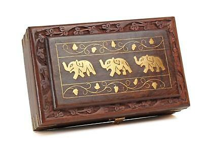Nirvana-Class 8 Inch Wooden Jewelry Box with Elephant Inlay Work & Carving