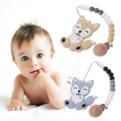 BPA Free Dog Silicone Beads Teether Pacifier Chain Clip Baby Teething Necklace
