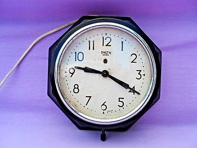 """Vintage Bakelite Hexagonal Smiths 9"""" Electric Wall Clock Lovely Condition Gwo"""