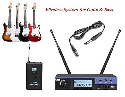 UHF Wireless Guitar / Instrument System w Bodypack Guita Cable for Guita & Bass