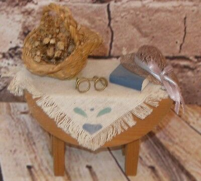 Vtg.  Miniature Wood Table W/Basket of Flowers,Hat,Book,Glasses Mini Accessories