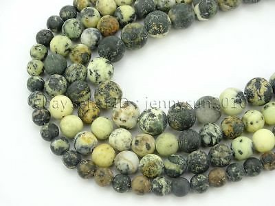 Natural Matte Yellow Turquoise Gemstone Round Beads 15'' 4mm 6mm 8mm 10mm 12mm