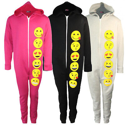 Girls Emoji Smiley All In One One1sie 1 Piece Pyjamas PJ Jumpsuit 7-13 Years