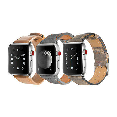 Retro Apple Watch Band Genuine Leather Strap Bracelet for iWatch 4 3 2 1 38/42mm