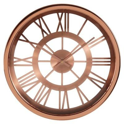 Baillie Skeleton Wall Clock Rose Gold Roman Numerals Frame Analogue Timer New