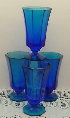 4 Independence Blue Iced Tea Water Goblets low footed  Octagonal
