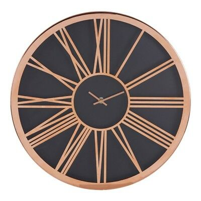 Baillie Black Face Wall Clock Roman Numerals Rose Gold Frame Analogue Timer New