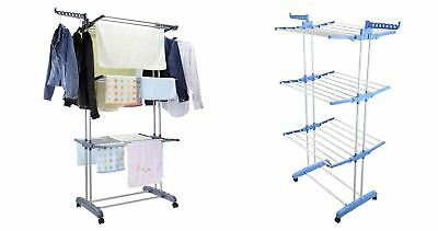 3 Tier Large Deluxe Clothes Airer Foldable Laundry Dryer Rack 3colours