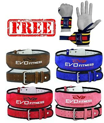 """EVO 6"""" 4"""" Pure Leather Gym Belts Weightlifting Back Support Straps Wrist Wraps"""