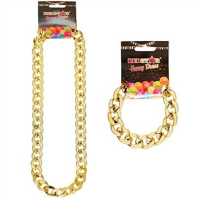 Gold Chain Fancy Dress Necklace Or Bracelet Gangster Chunky Jewellery Accessory