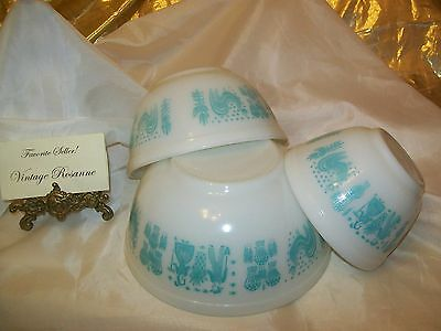 Pyrex 3 Piece Mixing Bowl set Amish Butterprint White w Turquoise 401 402 & 403