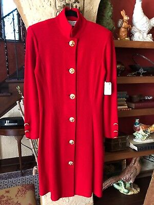 NWT Vintage St John Collection Marie Gray Red Wool Knit Dress USA Made SZ 8 $590