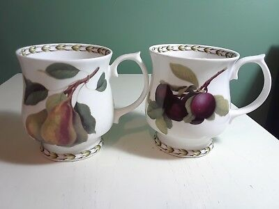Set of 2 Queens Cups Bone China Royal Horticultural Society Hookers Fruit Plum