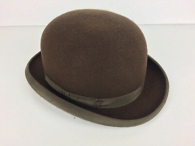 Vintage Brown Christys Red Lining Wool Bowler Style Quality Hat UK Size 58cm