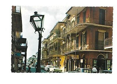 Vintage Postcard French Quarter New Orleans, LA St. Peter St. Old Cars Unposted