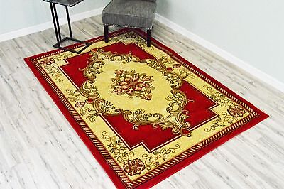 GLAMOUR 3D Hand Carved Traditional Design 206 Red Rug Oriental Floral VERY THICK
