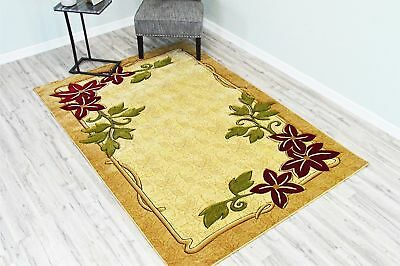 GLAMOUR 3D Hand Carved Traditional 207 Beige Rug Oriental Floral VERY THICK
