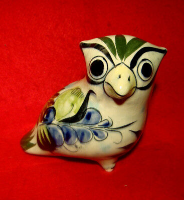 Tonala Mexico Pottery Horned Owl Figurine Hand Painted Signed Numbered