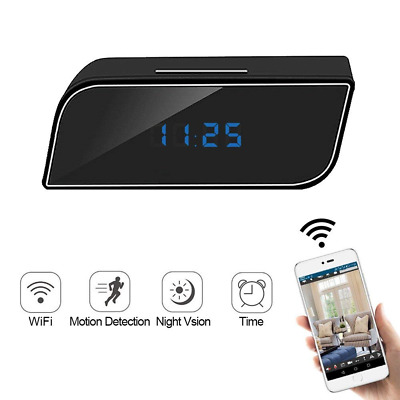 Mini Camera WIFI Alarm Clock with Night Vision,1080P 12/24 Motion Detection NEW