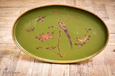 Antique Late 19th / Early 20th Century Green Lacquered Lacquer Chinoiserie Tray