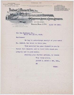 RARE Letterhead AL Morse Co Submarine Deep sea Diving Armor Helmet 1915 Fireman
