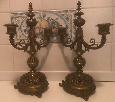 Antique French Ormolu Double Candlestick/Candelabra Pair