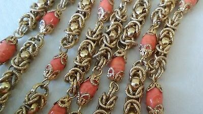 1970's Gold Plated Byzantine Chain Orange Murano Glass Strand Necklace ITALY