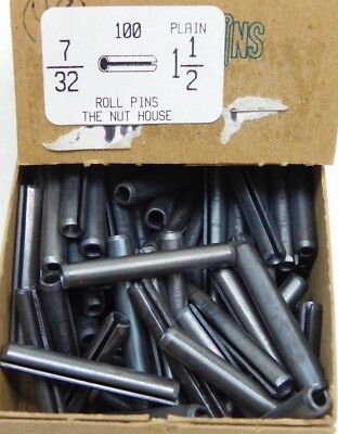 "(100 PACK) 7/32"" Dia x 1-1/2"" Length Plain Slotted Roll Spring Pin FREE SHIP! NH"