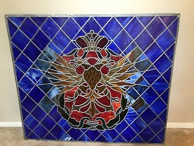 """Antique Stained Glass Church Window, Jeweled, Crown, Eagle, Serpents, 53"""" X 45"""""""