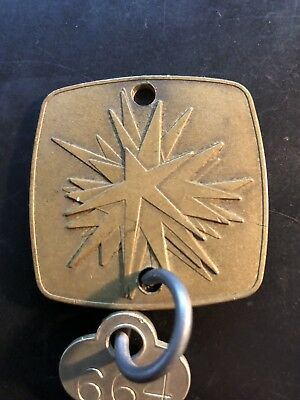 THE BEVERLY HILTON - BEVERLY HILLS CALIFORNIA Vintage Hotel Brass Room Fob & Key