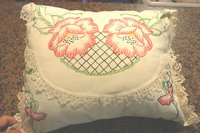 Handmade Pillow Cushion Vintage Dresser Scarf Embrodiery Lace Trim Beautiful