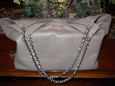 05c9ae2f43 Authentic PRADA Chain Shoulder Tote Bag Gray Taupe Leather SOFT CALF Italy  GREAT
