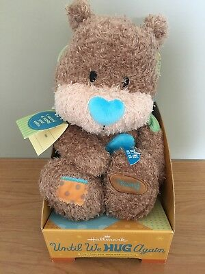 UNTIL WE HUG AGAIN Hallmark Stuffed Animal Brown Bear with Recordable Voice NEW
