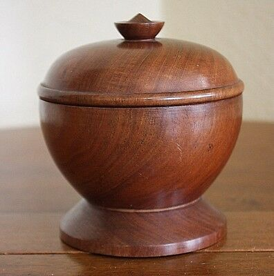 A P. Palacios Dominican Republic Mahogany Vtg Wood Turned Covered Sugar Bowl Jar